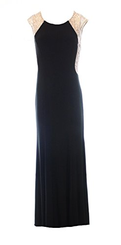 Xscape Women's Cap Sleeve Beaded Back Gown, Black, 6