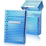 Metal Mesh Hole Design Durable Cigarette Case Box - Blue