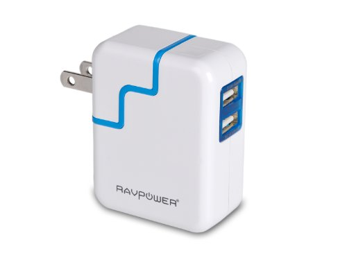 Ravpower® Travel Charger / Wall Charger Dual Usb Charge (15.5W/ 3.1A, Swivel Plug),Designed For Iphone 6, 5S, 5C, 5, 4S, 4; Ipad 5, Air, Mini; Ipod Touch, Nano; Samsung Galaxy S5, S4, S3, S2, Galaxy Note 3, 2; Lg G2; Nexus 5, 7; Motorola Droid Razr Maxx;