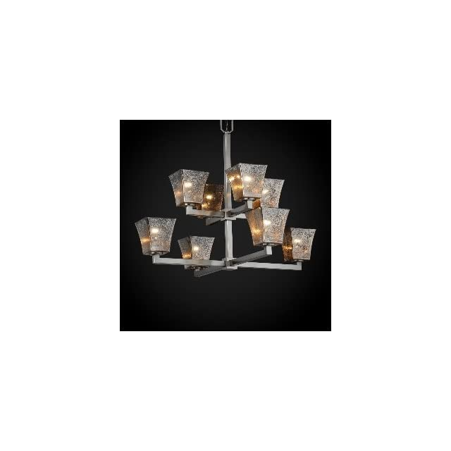 Justice Design FSN 8828 10 OPAL DBRZ GU24 Modular Eight Light 2 Tier Chandelier, Glass Options OPAL Opal Glass Shade, Choose Finish Dark Bronze Finish, Choose Lamping Option GU24 Fluorescent Non Dimming Lamps