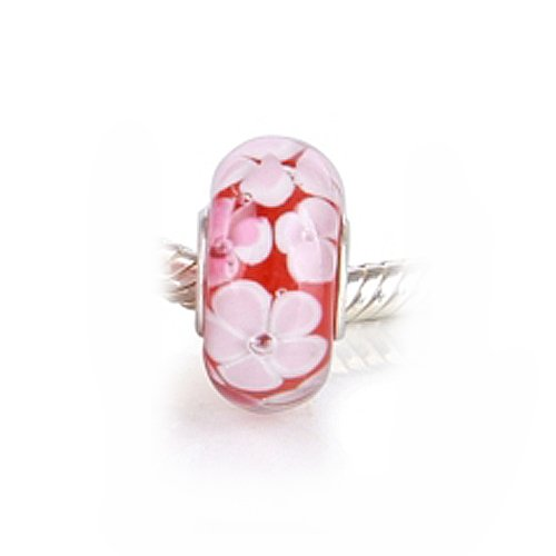 Bling Jewelry .925 Sterling Silver Murano Red Flower Bead Compatible with Pandora Bead Bracelet