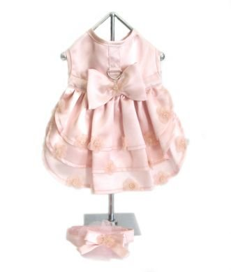 Pink Satin Ruffled Bridesmaid Dog Dress w/ Leash, XS