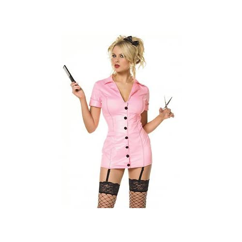 Sexy Costume: Hot Blondes in Barbershop Girl - Sexy Adult Hair Stylist Costume Lingerie Uniforms