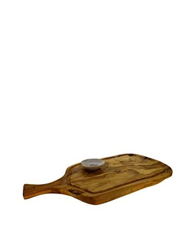 COLI Olive Wood Carving Board with Garlic Grater, Vanilla