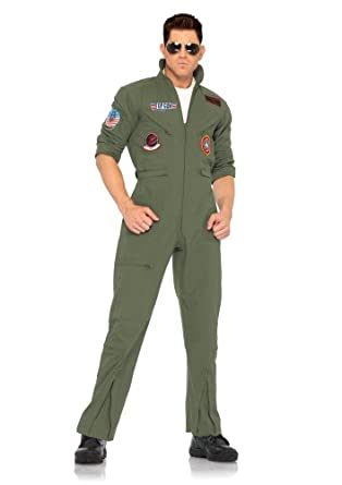 Low Price Leg Avenue Men's 2 Piece Top Gun Flight Zipper Front Suit With Sunglasses