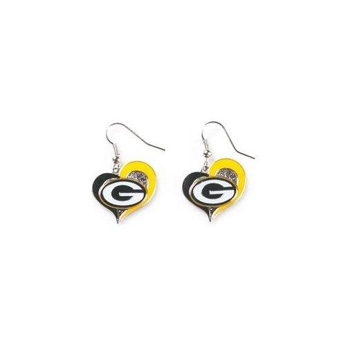 NFL Green Bay Packers Sports Collegiate Team Logo Swirl Heart Shape Dangle Earring Set Charm Gift