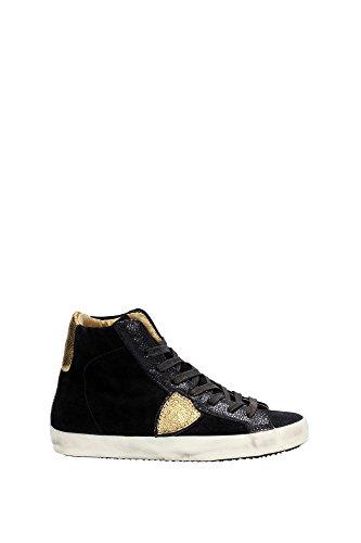 Sneakers Philippe Model Donna Camoscio Nero e Oro CLHDXM01 Nero 36EU