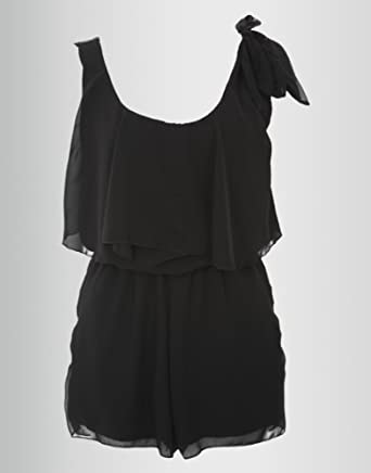 Chiffon Playsuit with Detail in Black. (L/XL (16))