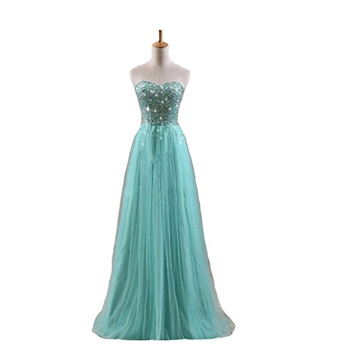 Kivary Women's Mint Tulle Long A Line Beaded Sequins Crystals Shiny Prom Corset Evening Dresses US 8