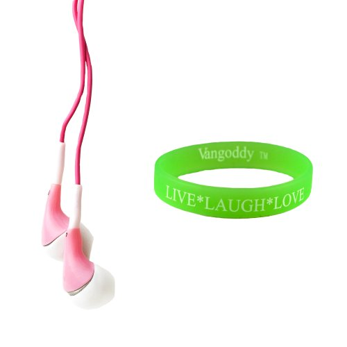 Travel Friendly Pink Earbuds For The Apple Iphone 5 With Great Sound Clarity + Wristband