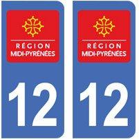 2-autocollants-12-Aveyron-plaque-immatriculation-dpartement-auto-12-angles-arrondis