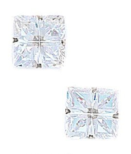 14k White Gold 9x9mm 4 Segment Square CZ Light Prong Set Earrings - JewelryWeb