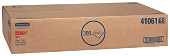 "Kimberly-Clark WypAll 41061 Disposable X70 Wiper, 16.6"" Width x 29.8"" Length, White (Box of 300)"