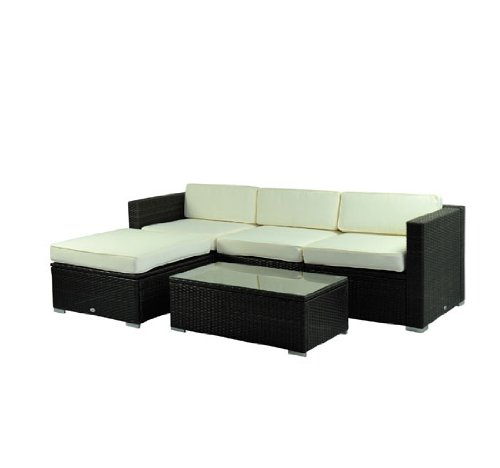 Outsunny Deluxe Outdoor Patio PE Rattan Wicker 5 pc Sofa Chaise Lounge Furniture Set