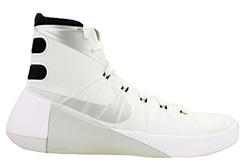 pictures of Nike Mens Hyperdunk 2015 TB Basketball Shoes White/Black/Met Silver 749645-100 Size 11.5