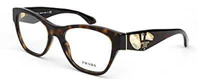 Amazon.com: Prada PR07RV Eyeglasses-2AU/1O1 Havana-51mm ...