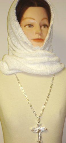 Hand Knitted and Finished with Hand Crochet One Ply White Chenille Winter and Spring Balaclava Offered in Combination with Sterling Silver Long Chain Charm Necklace with Cross Pendant