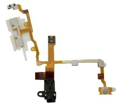 Iphone 3G / 3Gs Headphone Audio Jack Flex Cable With Metal Buttons Pre-Installed - Black