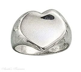 Sterling Silver Concave Heart Ring Size 6