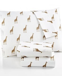 Martha Stewart WHIM Collection 100% Cotton Sheet Set Size Twin Sparkley Giraffes