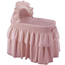 Paradise Rainbow Pink Bassinet Liner/Skirt and Hood - Size: 16x32
