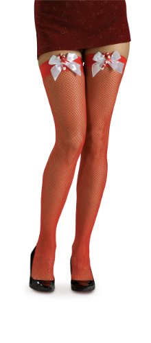 Rubie's Costume Fishnet Thigh High Stockings with Candy Cane Bows Costume