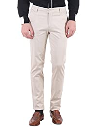 Routeen Men's Cosmo Beige Slim Fit Cotton Chinos Trousers Casual Pants