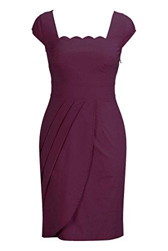 Eshakti Women'S Scallop Neck Faux-Wrap Dress 5X-32W Regular Wine