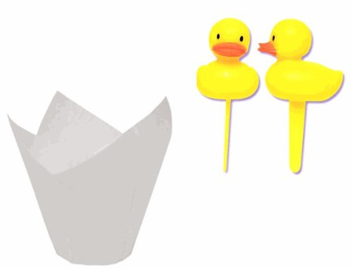 Baby Shower Cupcake Decoration Kit - 12Yellow Duck Duckling Cupcake Decoration Picks With Tulip Baking Cups