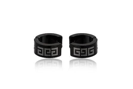 Black  Stainless Steel Fashion Hoop Earring Men's Jewelry