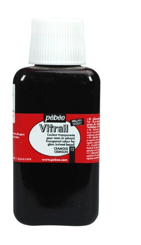 Pebeo 250Ml Vitrail Stained Glass Effect Paint Bottle, Crimson