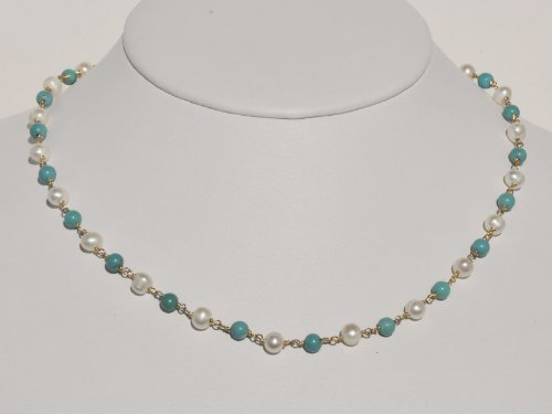 Genuine Turquoise and White Freshwater Cultured Pearl Wrapped Necklace in 14k Yellow Gold, 16