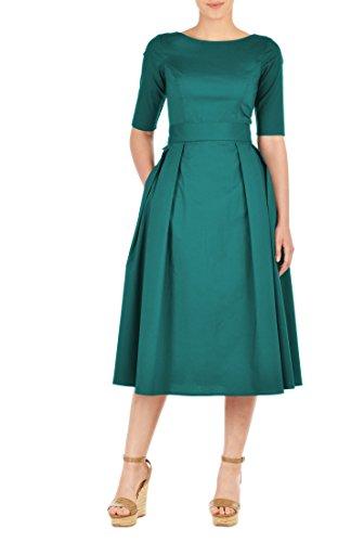 eshakti-womens-custom-styling-enabled-stretch-cotton-poplin-bow-belted-dress-3x-24w-pine
