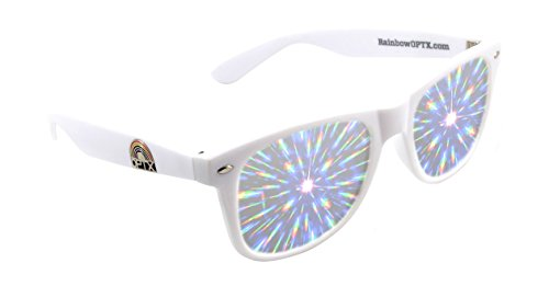 Rainbow OPTX Fireworks Diffraction Glasses Plastic Rave Glasses (White / Clear Lenses)
