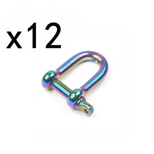 12 Stainless Steel D Shackles for Paracord Bracelets w/ Anodized Rainbow Color