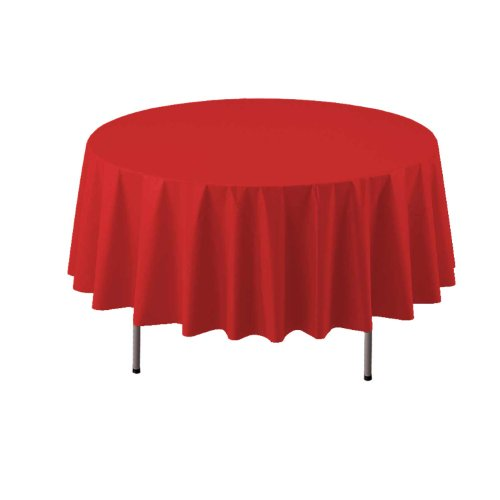 "Party Essentials ValuMost Round Plastic Table Cover, 84"", Red"
