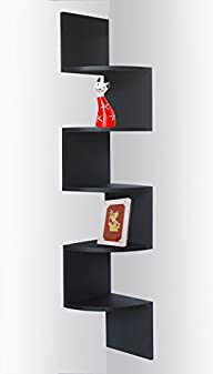 Black Finish Corner Zig Zag Wall Shelf