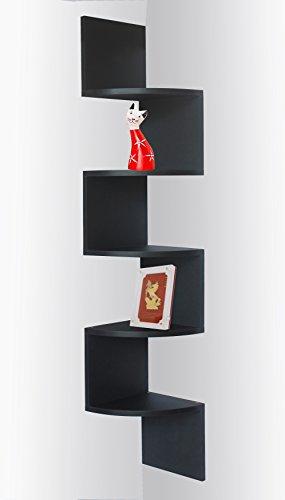 Black Finish Corner Zig Zag Wall Shelf 730957963775