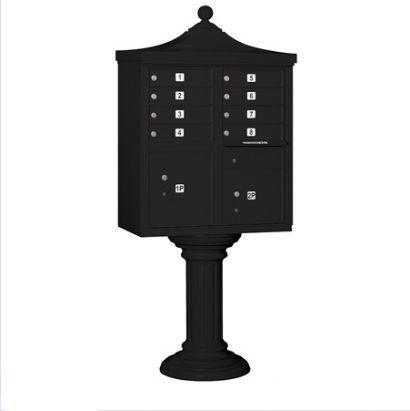 Salsbury Industries 3308R-BLK-P Regency Decorative CBU with CBU, Pedestal, CBU Top, Pedestal Cover and Master Locks, 8 A Size Doors, Type I, Private Access, - Regency Cluster Box Unit