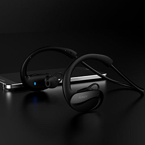 AUKEY Bluetooth ヘッドセット ワイヤレススポッツイヤホン 耳掛け式 8時間連続再生 iPhone 7,7 Plus,iPhone 6S,6S Plus,Sony,Android スマートフォンなど対応 (ブラック) EP-B34