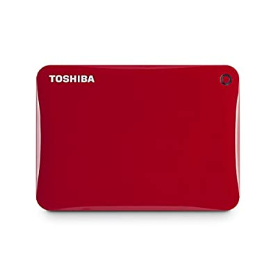 Toshiba Canvio Connect II 3TB Portable Hard Drive, Red (HDTC830XR3C1)