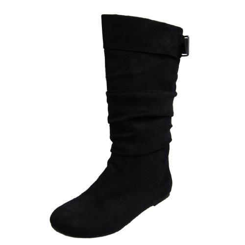 Journee Slouch Mid-Calf Microsuede Boot