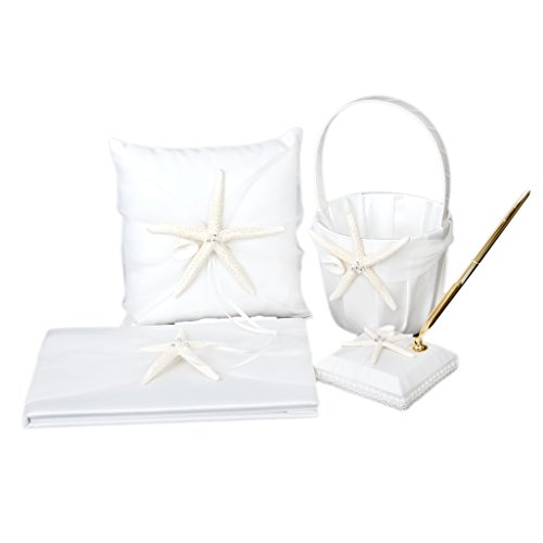 Wedding Guest Book,Pen,Ring Pillow,Flower Basket,Garter Set Ivory Double Heart Diamante