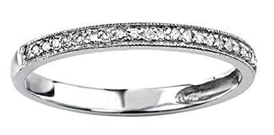 J R Jewellery 441273 White Gold with White Diamond Beaded Edge Half Eternity Ring