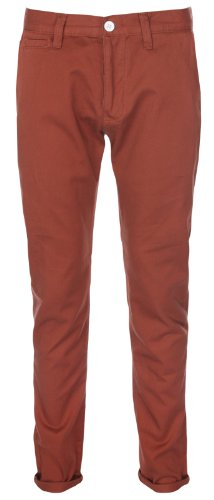New Mens Chinos - Slim Fit Trouser Jeans - Rust 32