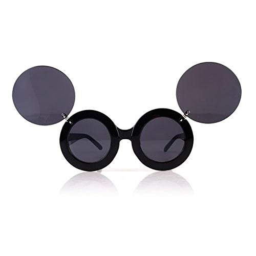 [Mouse Lady Thick Round Flip Up Paparazzi Sunglasses Glasses Shades Black] (Womens Material Pop Star Costumes)