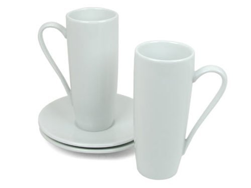 Konitz Set of 2 Coffee Bar Latte Macchiato Cups and Saucers.