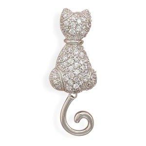 Rhodium Plated CZ Kitty Pin