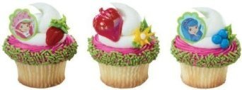 Strawberry Shortcake Cupcake Topper Rings Party Favors - 24 ct