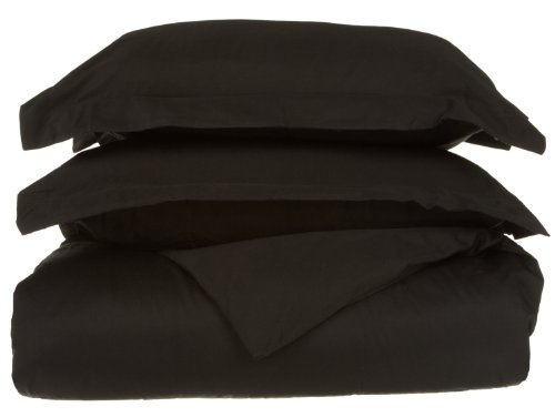 Egyptian Cotton 530 Thread Count Twin Duvet Cover Set Solid, Black